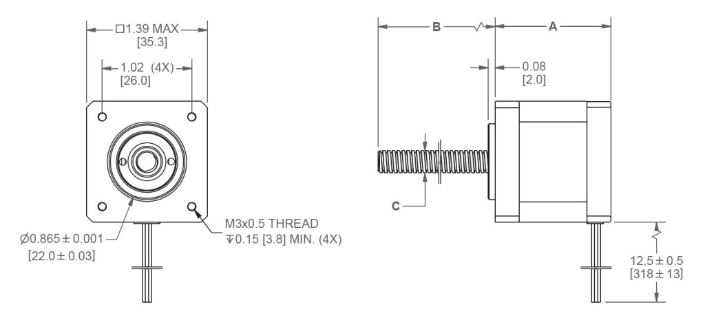 NEMA14_1.8_LE14LS_LINEAR_ACTUATOR_WITH_LINFINITY_NUT_DIMENSIONS