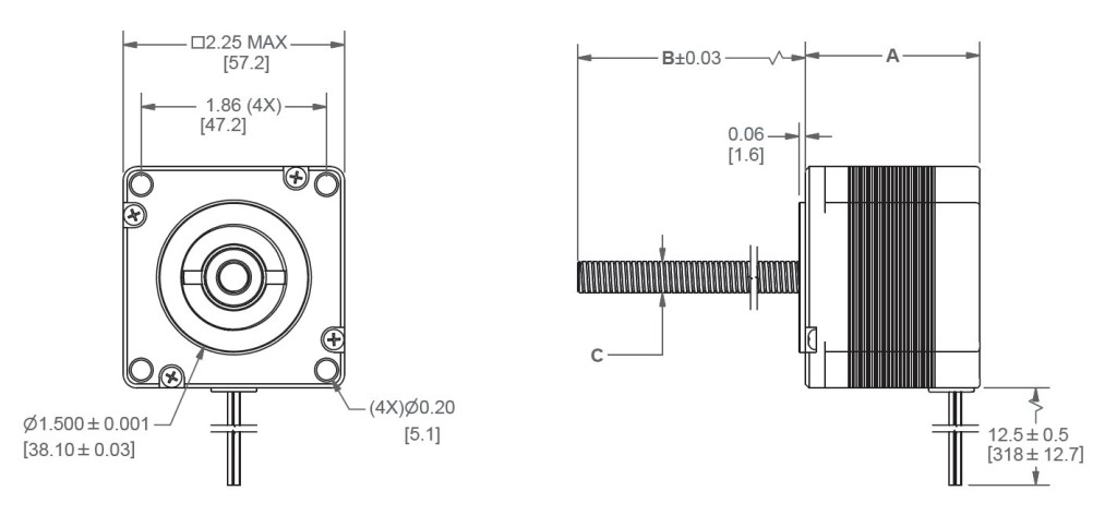 NEMA23_1.8_LE23LS_LINEAR_ACTUATOR_WITH_LINFINITY_NUT_DIMENSIONS